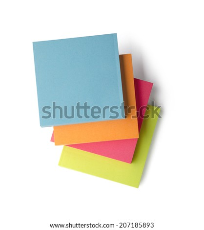 Sticky notes isolated on white background with clipping path. Above view. - stock photo