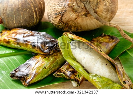 Sticky rice with banana grill - stock photo