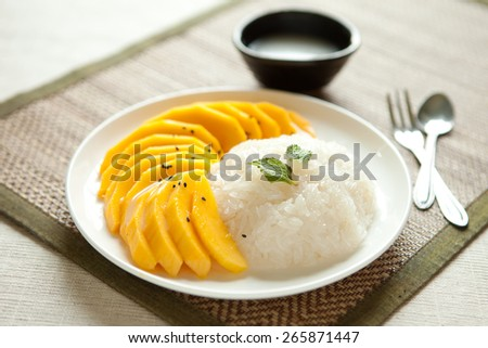 Sticky Rice With Mango - stock photo