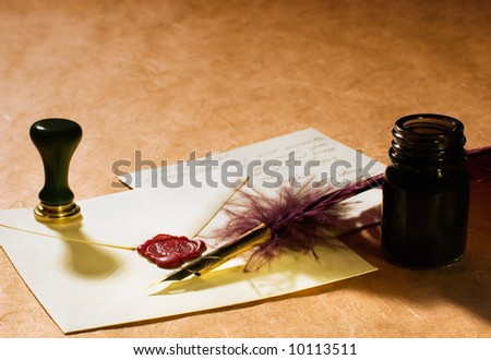 Still-life about a love letters with a quill, an inkwell & a stamp on a rustic paper. - stock photo