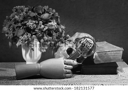 Still life art photography dead academy concept on skull old books vase dry flower wood hand and magnifier in black and white version with film grain - stock photo
