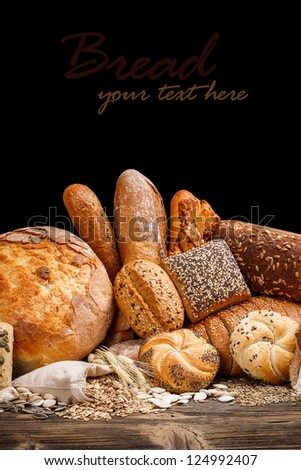 Still life assortment of baked goods - stock photo