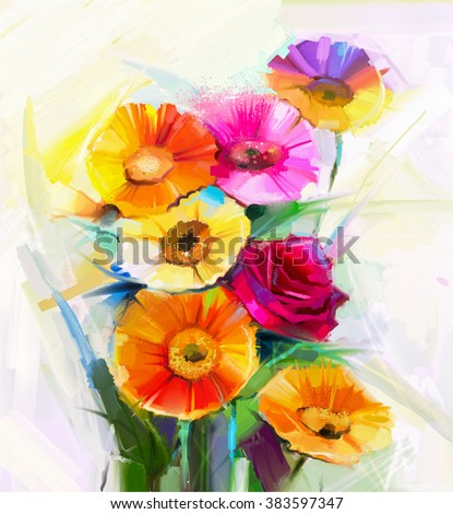 Still life colorful of yellow and red spring flowers painting. Oil painting a bouquet of rose,daisy and gerbera flower. Hand Painted floral Impressionist style. - stock photo