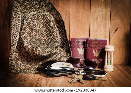 Still life concept of traveling all over the world with mobile phone,passport - stock photo