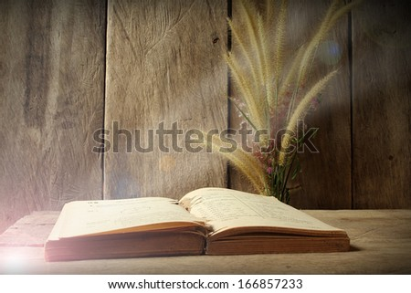 Still life flower foxtail weed and old book  in morning light on wooden background - stock photo