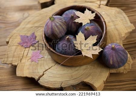 Still life food: autumn figs, horizontal shot - stock photo