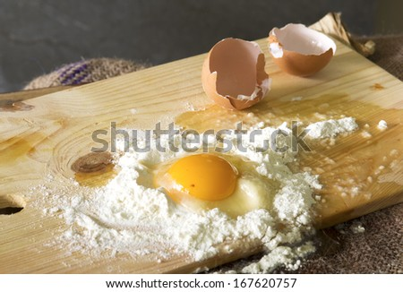 still life food, making a cake with eggs - stock photo