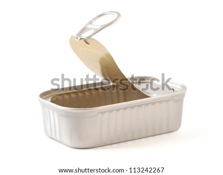 Still life image of an open tin - stock photo