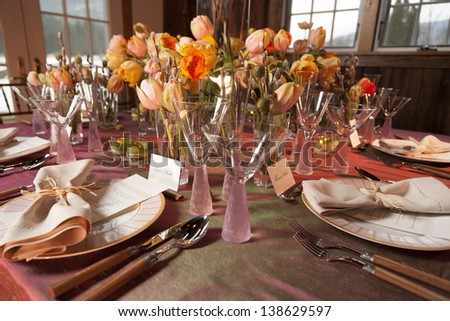 Still life of a table setup for a fancy high end wedding. - stock photo