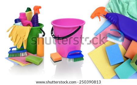 Still life of assortment of various bright means for cleaning isolated on white background. - stock photo