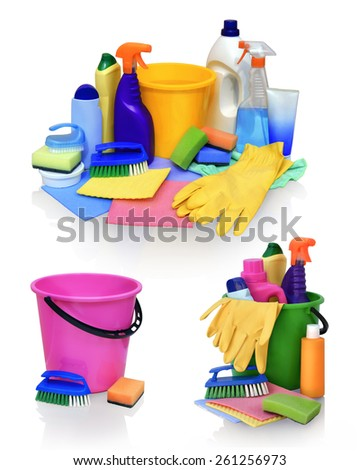 Still life of assortment of various bright means for cleaning isolated on white background. Cleaner bathroom, cleaner for glass, powder for metal products, concentrated air freshener, wipes, pail  - stock photo