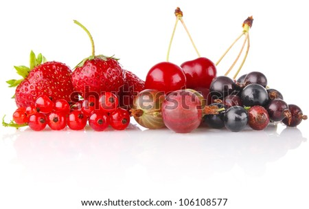 still life of berry isolated on white background - stock photo