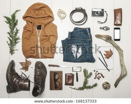 Still life of casual man./ Overhead of essentials adventurer man.  - stock photo