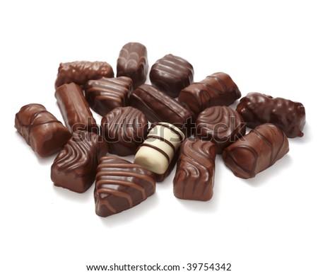 still life of chocolate praline on white background - stock photo