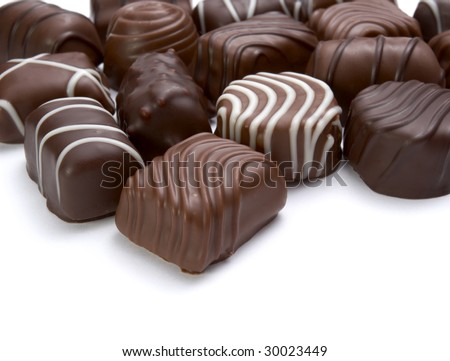 still life of chocolate praline on white background with clipping path - stock photo