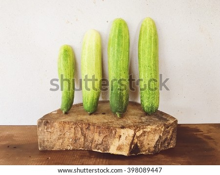 Still life of cucumbers on white wall background. - stock photo