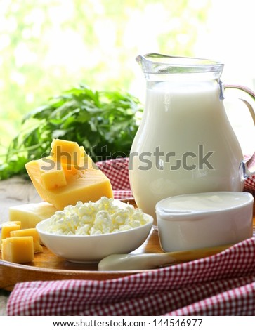 still life of dairy products (milk, sour cream, cheese, cottage cheese) - stock photo