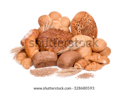 still life of different kinds of bread isolated on a white background - stock photo