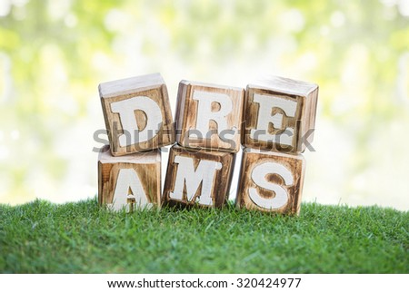 still life of DREAMS sign concept made of wooden blocks on a green grass with bokeh background - stock photo