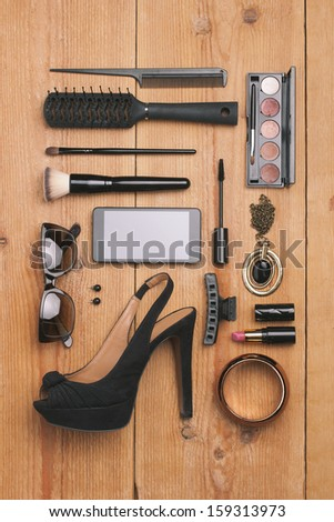 Still life of fashion woman./ Overhead of essentials fashion woman objects.  - stock photo