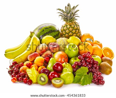 Still life of fresh healthy tropical fruit on white with bananas, watermelon, grapes, orange, kiwi, peaches, apricot, cherry, pineapple and apples - stock photo