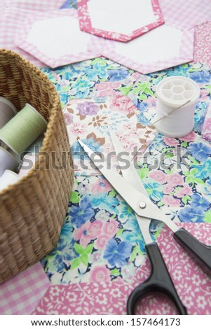 Still Life Of Quilt Making Material And Tools - stock photo