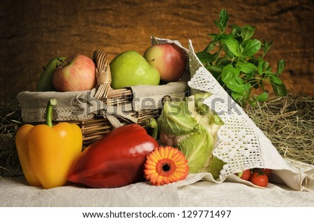 Still Life Of Vegetables And Fruits. Harvest Of Bulgarian Products. - stock photo