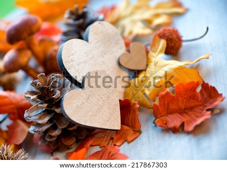 Still Life of Wooden Hearts Amongst Autumn Foliage with Selective Focus - stock photo
