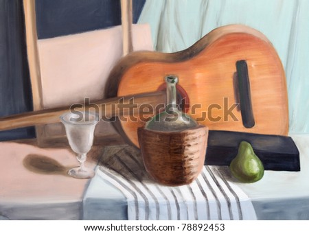 Still life painting of guitar, bottle, glass, black box, frame and pear. - stock photo