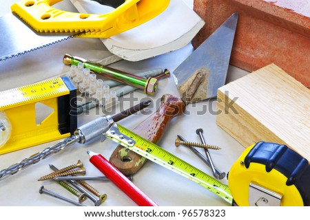Still life photo of building tools and materials - stock photo