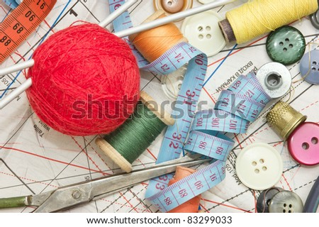 still life various sewing accessories in the scheme - stock photo