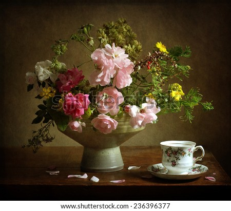 Still life with a beautiful bouquet - stock photo