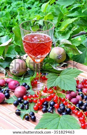 Still life with a glass of sparkling red wine with berries and green leaves - stock photo