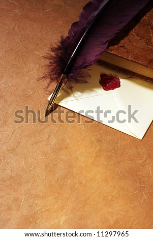 Still-life with a letter, a quill  and a dairy - stock photo
