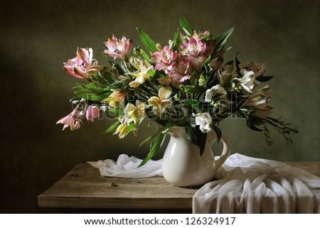 Still life with alstroemeria - stock photo