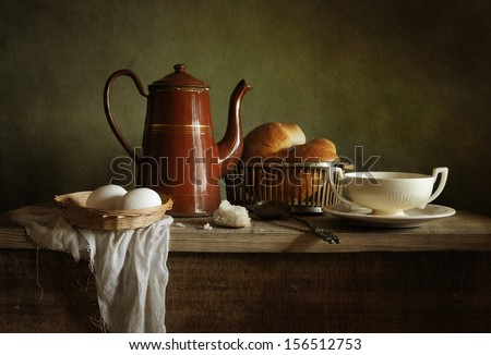 Still life with an old coffee pot - stock photo