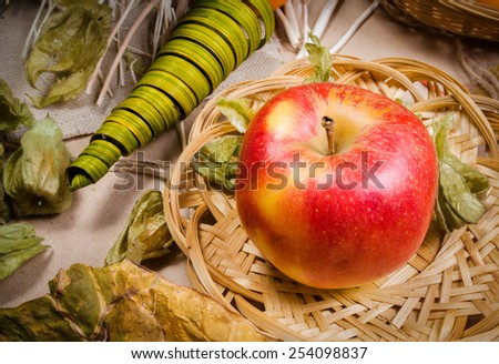 Still life with apple and physalis with decorations and wicker plate on light brown paper - stock photo