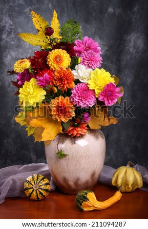 Still life with autumn chrysanthemum flowers in a vase  - stock photo