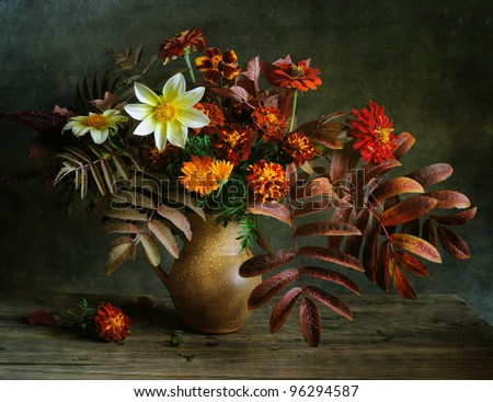 Still life with autumn flowers - stock photo