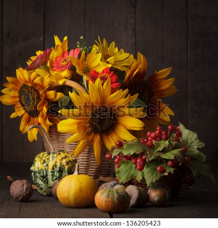 Still life with autumn harvest on wood background - stock photo