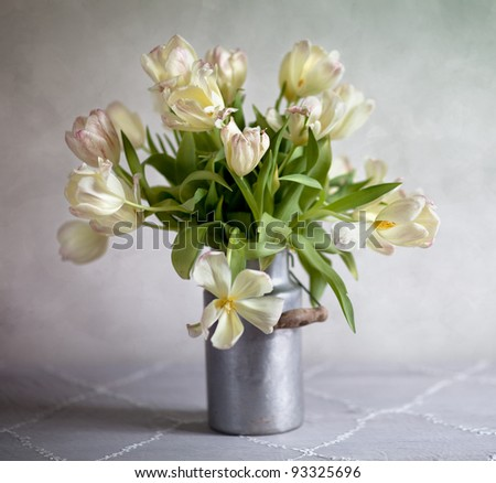 Still Life with bouquet of tulips in old milk can - stock photo