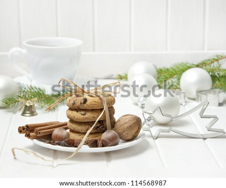 still life with christmas cookies an cup of tea - stock photo