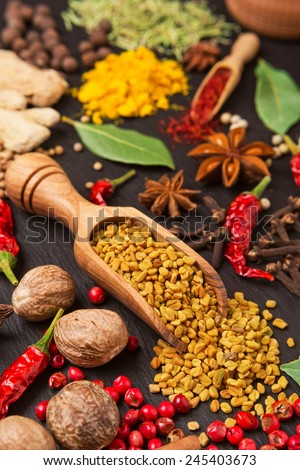 still life with different spices and herbs over black background - stock photo