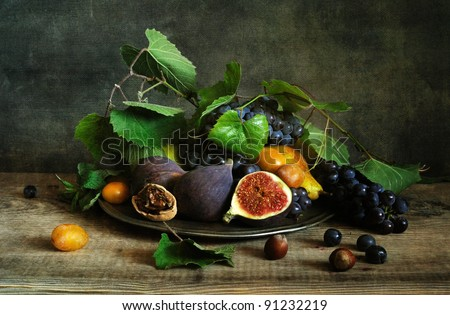 Still life with figs - stock photo