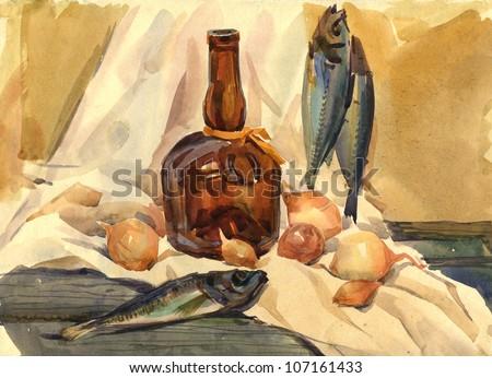 Still Life with Fish - stock photo