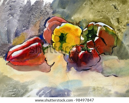 Still life with five peppers. Watercolor. - stock photo