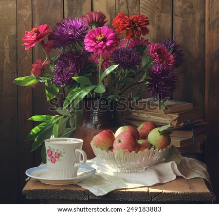 still life with flowers and apples - stock photo