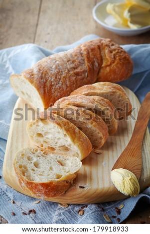 still life with fresh bread - stock photo