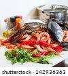 Still life with fresh raw marine products - stock photo