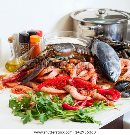 Still life with fresh raw marine products - stock photo
